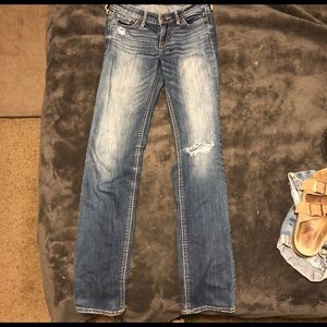 Hollister distressed  boot cut jeans!